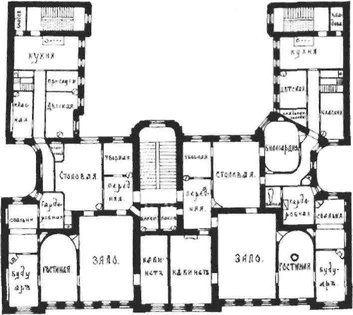 План 2-3 этажей доходного дома